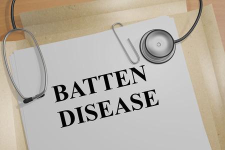 3D illustration of BATTEN DISEASE title on a document Stock Photo