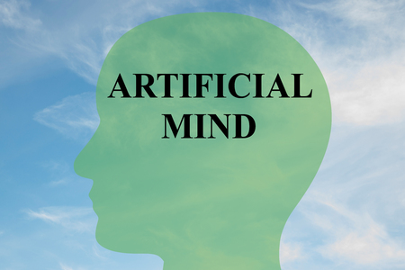 epistemology: Render illustration of ARTIFICIAL MIND script on head silhouette, with cloudy sky as a background. Stock Photo