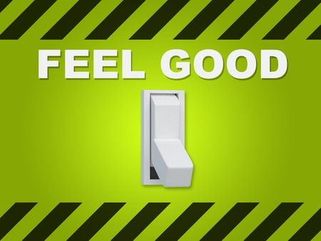 feel good: 3D illustration of FEEL GOOD title above an electric switch on green wall