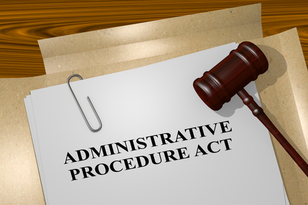 3D illustration of ADMINISTRATIVE PROCEDURE ACT title on legal document Stock Photo