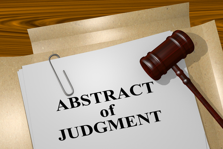 proceeding: 3D illustration of ABSTRACT of JUDGMENT title on legal document Stock Photo