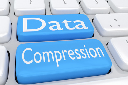 compression: 3D illustration of computer keyboard with the script Data Compression on two adjacent pale blue buttons