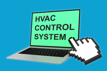 power supply unit: 3D illustration of HVAC CONTROL SYSTEM script with pointing hand icon pointing at the laptop screen