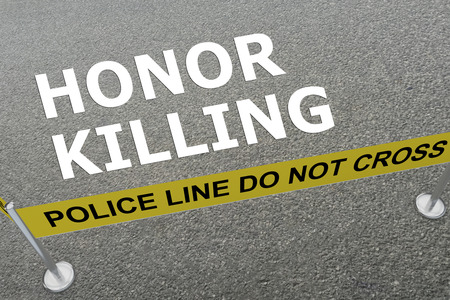 3D illustration of HONOR KILLING title on the ground in a police arena