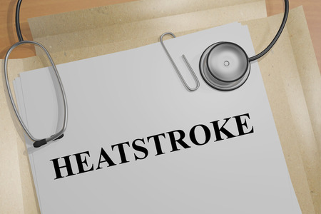 3D illustration of HEATSTROKE title on a document Stock Photo