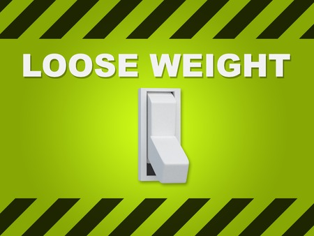 loose weight: 3D illustration of LOOSE WEIGHT title above an electric switch on green wall