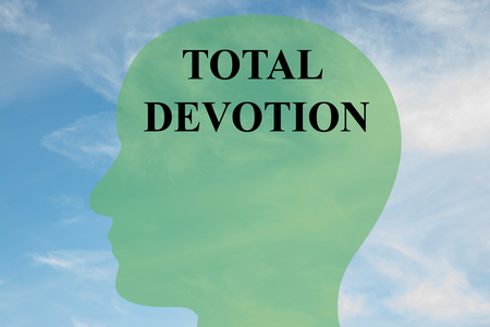 total: Render illustration of TOTAL DEVOTION script on head silhouette, with cloudy sky as a background.