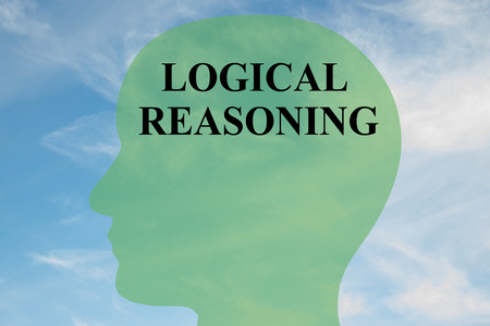 reasoning: Render illustration of LOGICAL REASONING script on head silhouette, with cloudy sky as a background. Stock Photo
