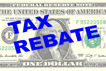rebate: Render illustration of TAX REBATE title on One Dollar bill as a background Stock Photo