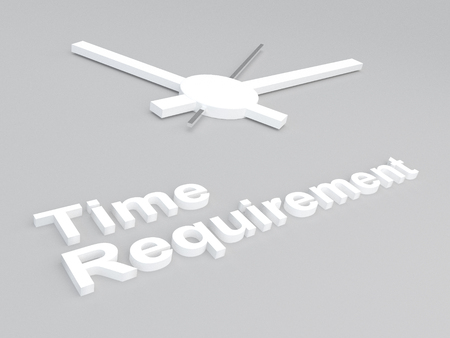 requirement: 3D illustration of Time Requirement title with a clock as a background