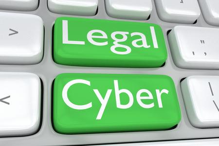 """3D illustratie van computertoetsenbord met de druk """"Wettelijke Cyber"""" op twee aangrenzende groene knopen"""