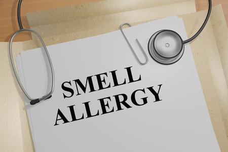 sinusitis: 3D illustration of SMELL ALLERGY title on medical document