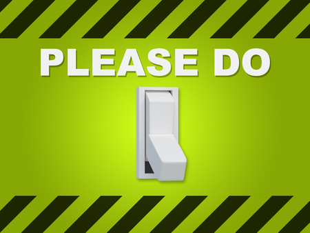 3D illustration of PLEASE DO title above an electric switch on green wall Stock Photo