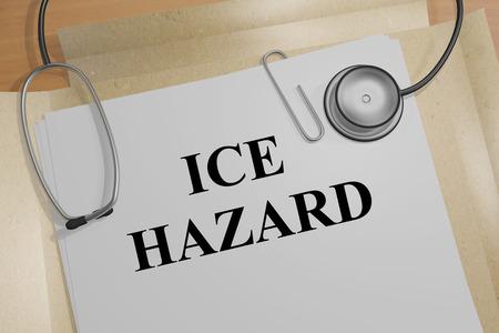 skidding: 3D illustration of ICE HAZARD title on medical document Stock Photo