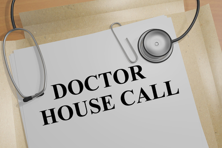 house call: 3D illustration of DOCTOR HOUSE CALL title on a document Stock Photo