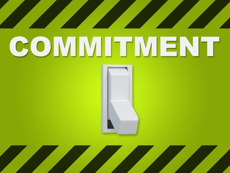 3D illustration of COMMITMENT title above an electric switch on green wall