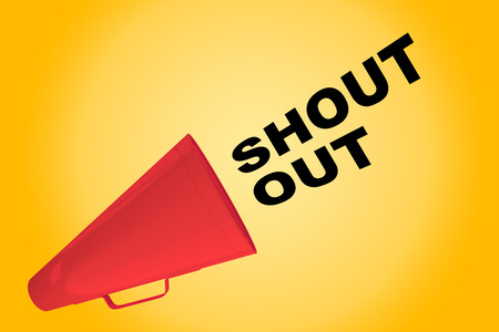 """3D illustration of """"SHOUT OUT"""" title flowing from a loudspeaker"""