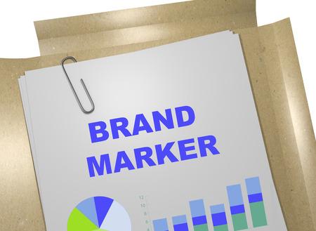 possession: 3D illustration of BRAND MARKER title on business document