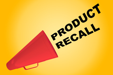 financially: 3D illustration of PRODUCT RECALL title flowing from a loudspeaker Stock Photo