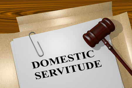 servitude: 3D illustration of DOMESTIC SERVITUDE title on legal document Stock Photo