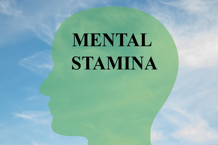 Render illustration of MENTAL STAMINA script on head silhouette, with cloudy sky as a background. Stock Photo