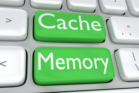 latency: 3D illustration of computer keyboard with the print Cache Memory on two adjacent green buttons