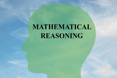 epistemology: Render illustration of MATHEMATICAL REASONING script on head silhouette, with cloudy sky as a background. Stock Photo