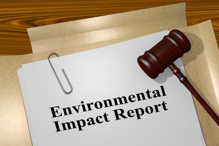 """법적 문서의 """"환경 영향 보고서""""제목의 3D 일러스트"""