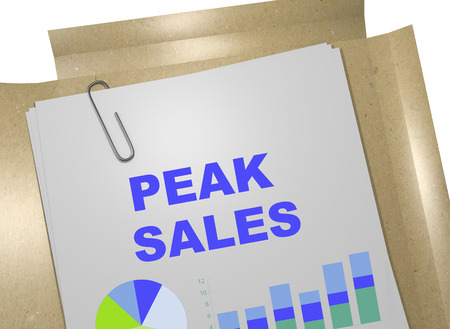 ascend: 3D illustration of PEAK SALES title on business document Stock Photo