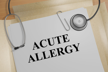 nasal cavity: 3D illustration of ACUTE ALLERGY title on medical document