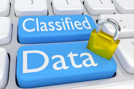 コンピューターのキーボード上のスクリプトに「機密データ」2 つの隣接の淡い青色のボタン allong ロックの 3 D イラストレーション。 写真素材 - 65385130