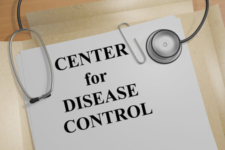 cdc: 3D illustration of CENTERS for DISEASE CONTROL title on medical document
