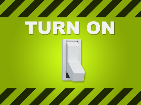 urge: 3D illustration of TURN ON title above an electric switch on green wall