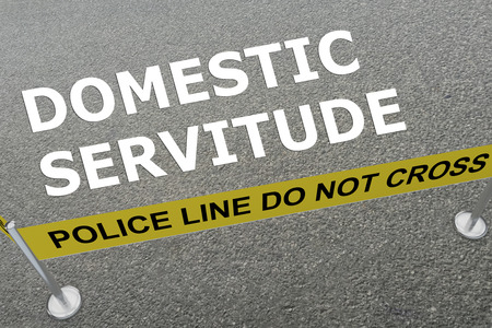 3D illustration of DOMESTIC SERVITUDE title on the ground in a police arena