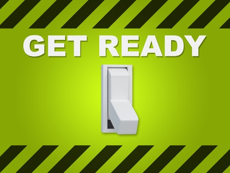 3D illustration of GET READY title above an electric switch on green wall