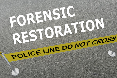 restoration: 3D illustration of FORENSIC RESTORATION title on the ground in a police arena