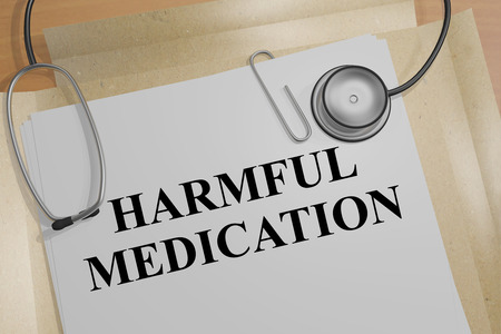 consequence: 3D illustration of HARMFUL MEDICATION title on a document