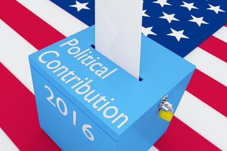 3D illustration of Political Contribution, 2016 scripts and on ballot box, with US flag as a background.