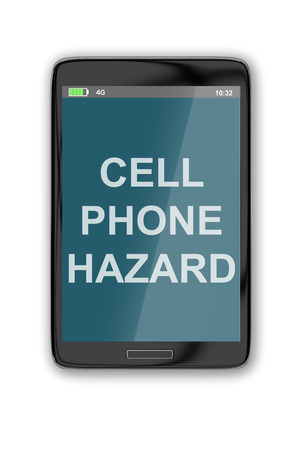 body damage: 3D illustration of CELL PHONE HAZARD title on cellular screen, isolated on white.