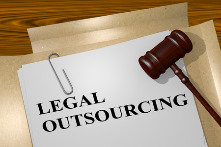 diligence: 3D illustration of LEGAL OUTSOURCING title on legal document Stock Photo
