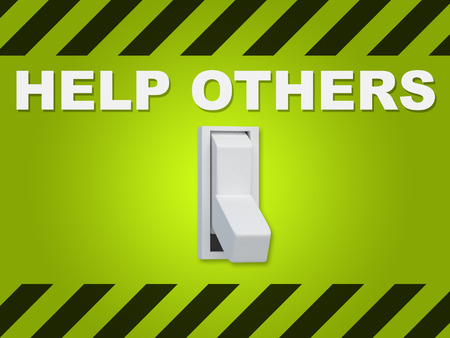 3D illustration of HELP OTHERS title above an electric switch on green wall Stock Photo