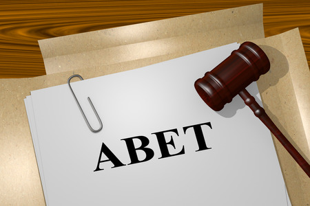 3D illustration of ABET title on legal document