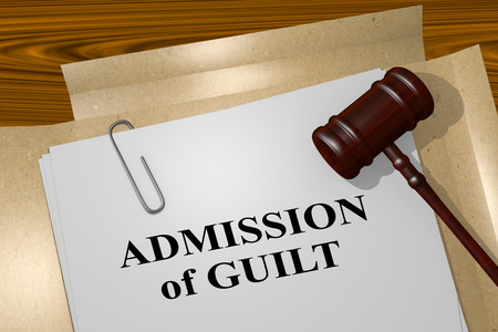 confess: 3D illustration of ADMISSION of GUILT title on legal document Stock Photo