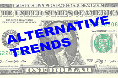 divergence: Render illustration of ALTERNATIVE TRENDS title on One Dollar bill as a background