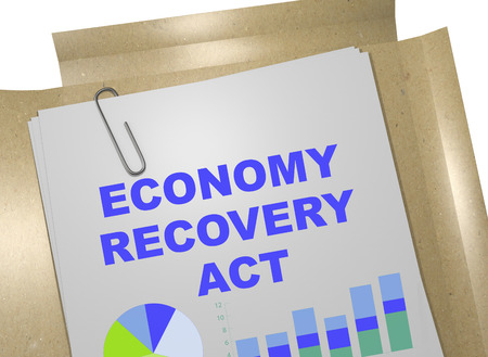 volatile: 3D illustration of ECONOMY RECOVERY ACT title on business document