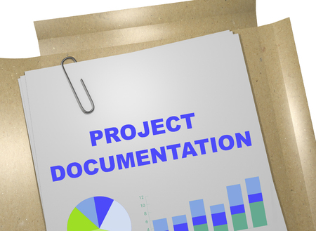 documentation: 3D illustration of PROJECT DOCUMENTATION title on business document