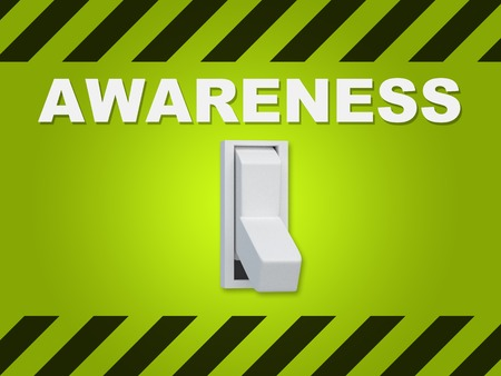 psique: 3D illustration of AWARENESS title above an electric switch on green wall Foto de archivo