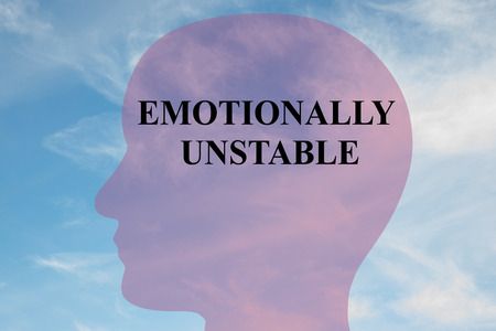 unstable: Render illustration of EMOTIONALLY UNSTABLE title on head silhouette, with cloudy sky as a background.