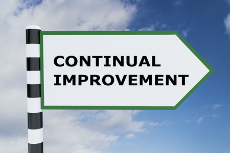 3D illustration of CONTINUAL IMPROVEMENT script on road sign Stock Photo