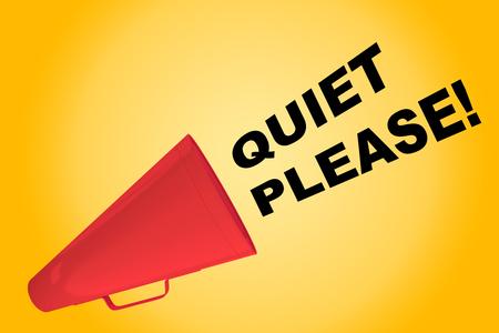 quiet: 3D illustration of QUIET PLEASE! title flowing from a loudspeaker